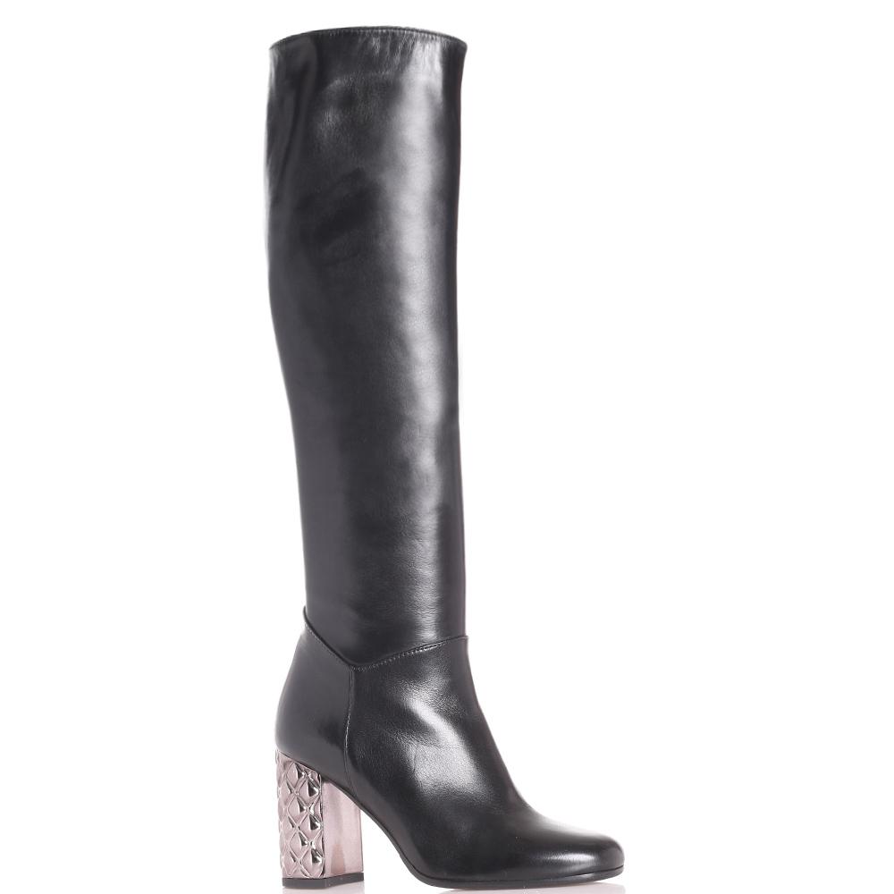Черные сапоги Hestia Venezia с каблуком серебристого цвета