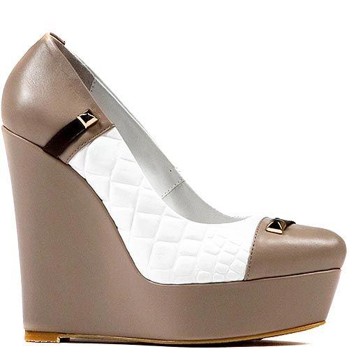 Бело-бежевые кожаные туфли Modus Vivendi на платформе
