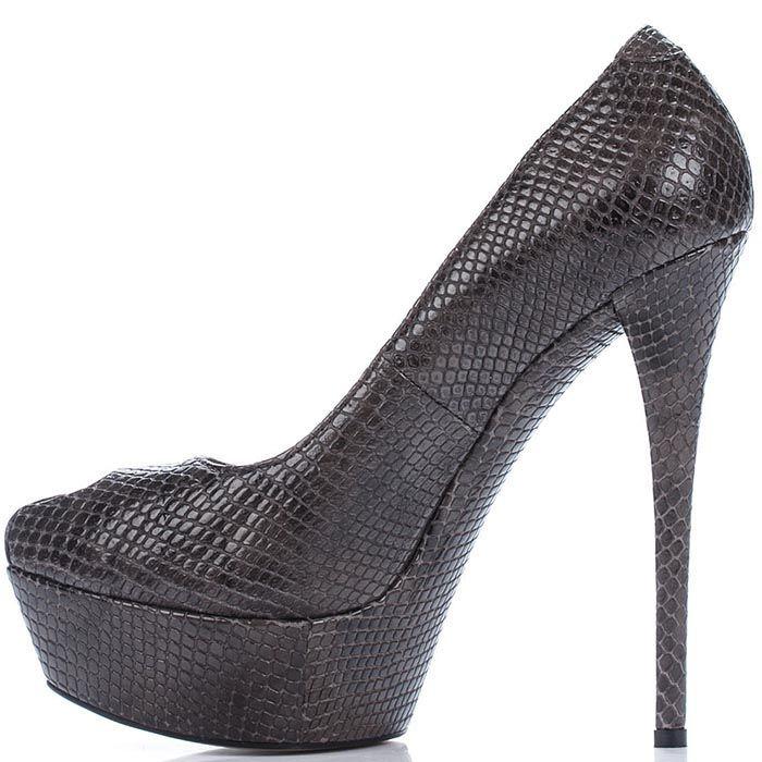 Туфли Modus Vivendi коричневого цвета на высоком каблуке с имитацией кожи питона