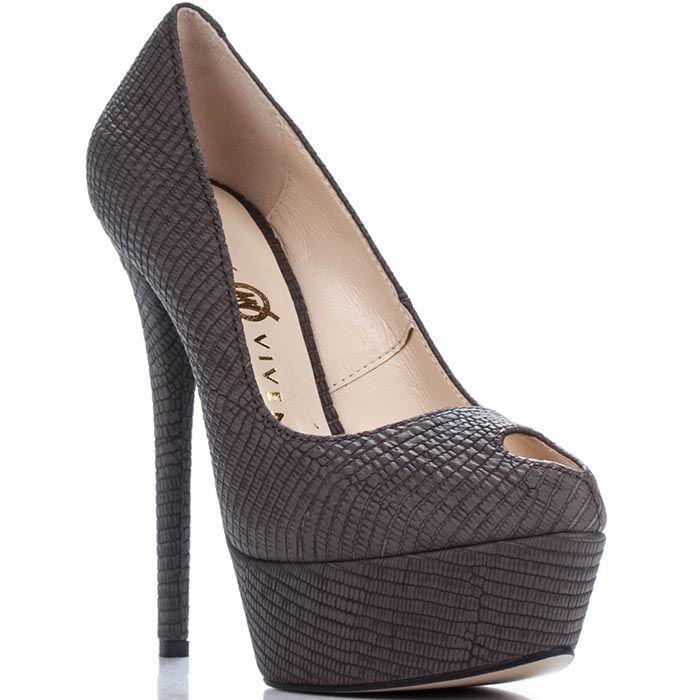 Туфли Modus Vivendi из натуральной тисненной кожи коричневого цвета с открытым носочком