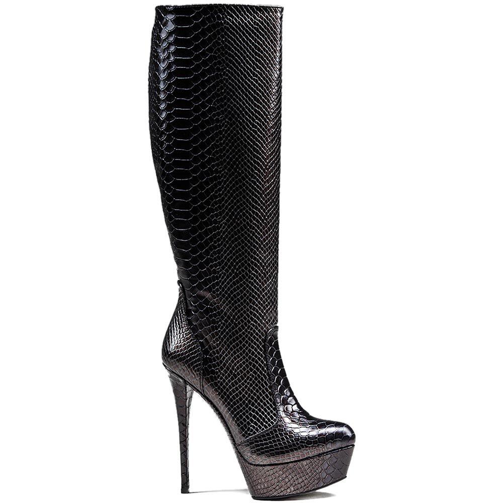 Женские демисезонные сапоги Modus Vivendi на шпильке и скрытой платформе черного цвета