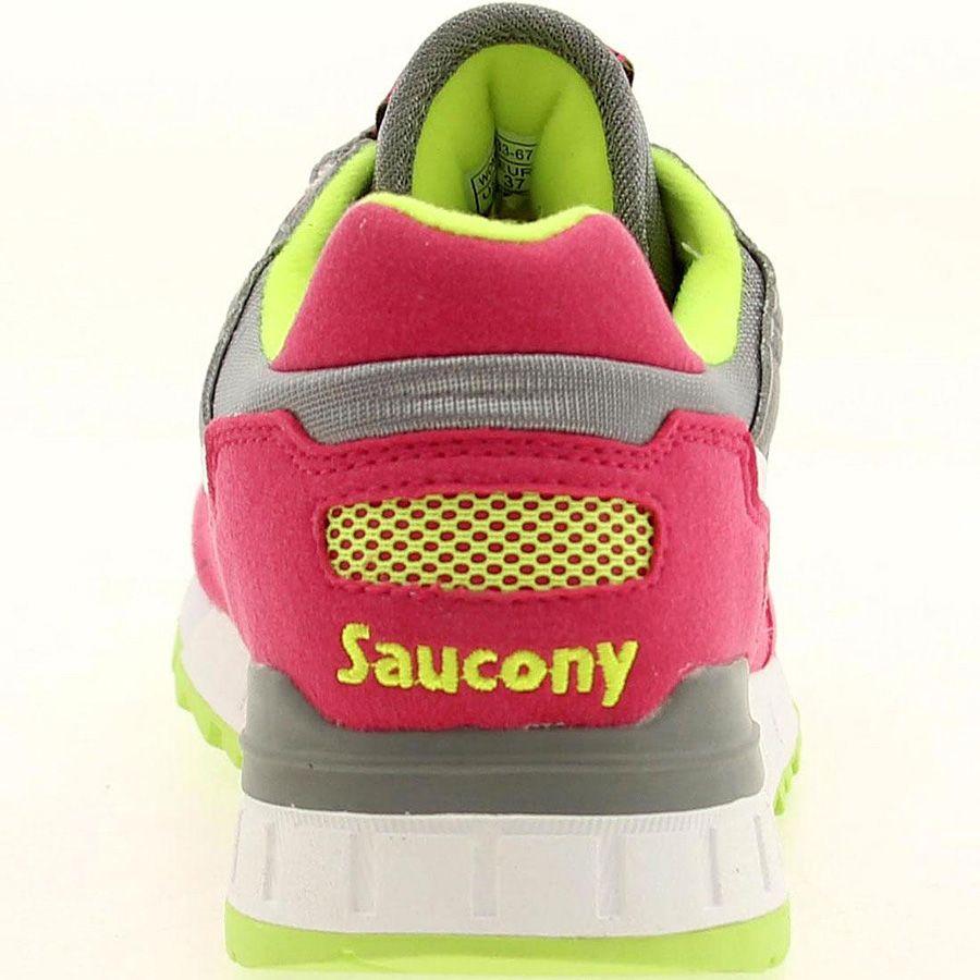 Женские кроссовки Saucony Shadow 5000 серые с ярким малиновым и неоновым желто-салатовым