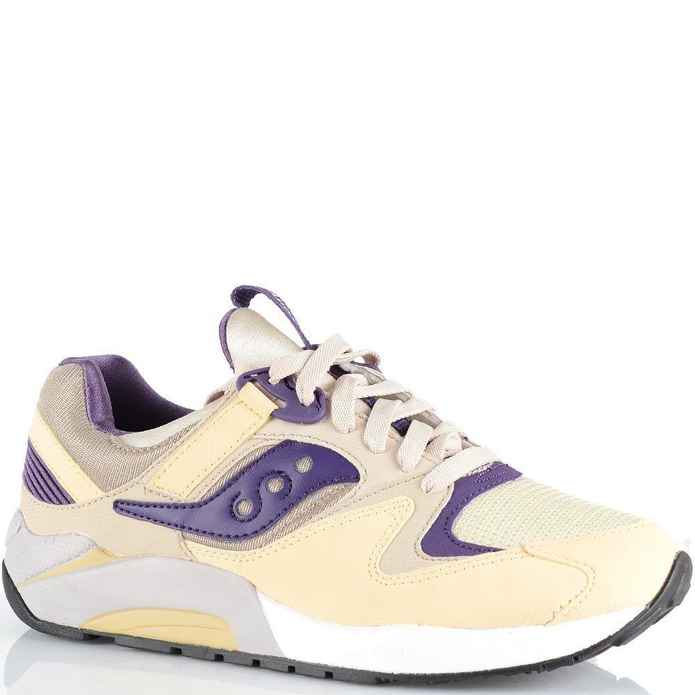 Женские кроссовки Saucony Grid 9000 кремовые с темно-фиолетовыми вставками