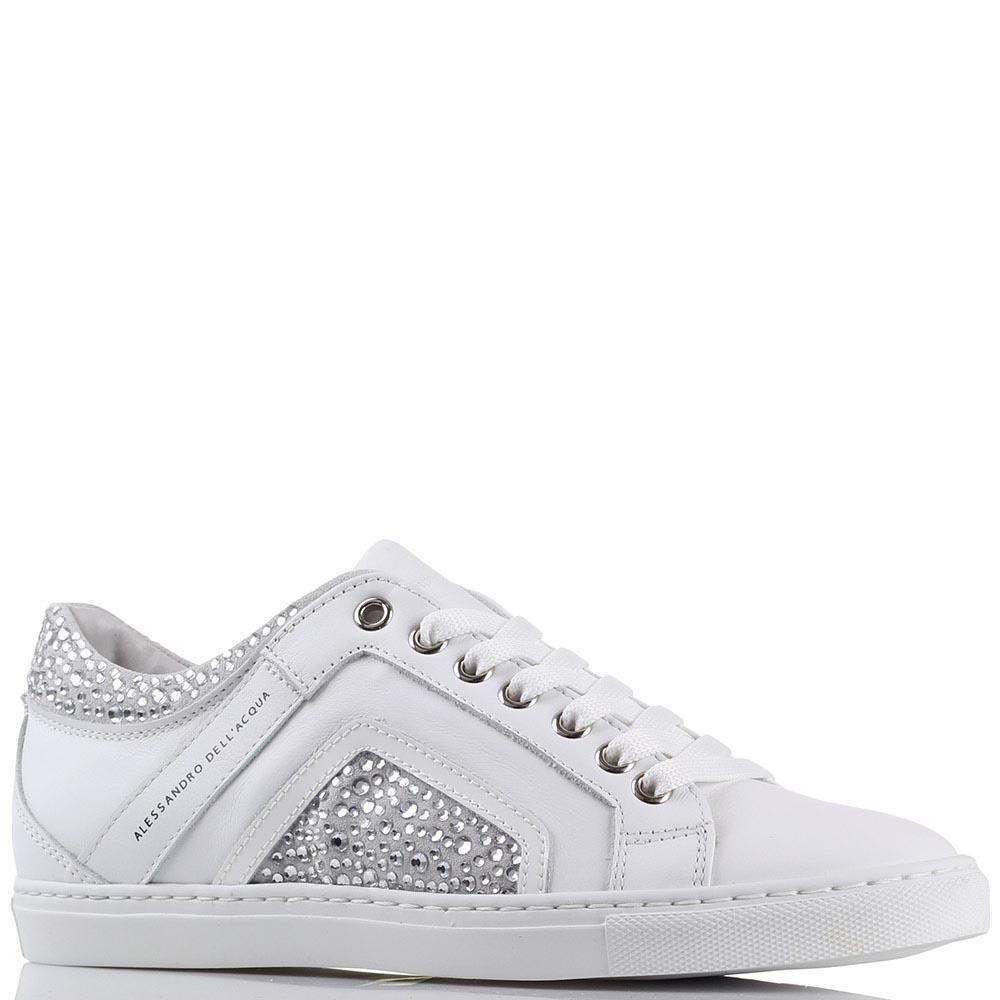 Белые кожаные кроссовки Alessandro Dell'acqua со стразами