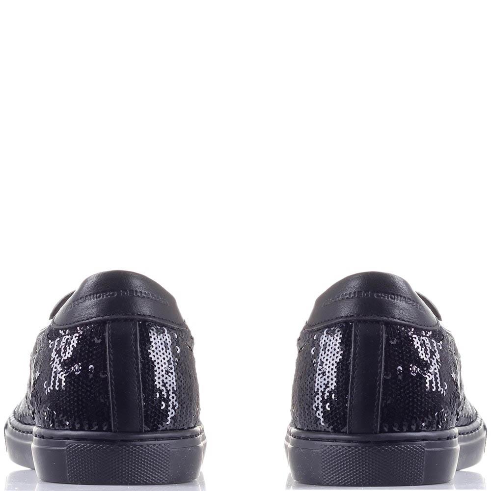 Кожаные слипоны Alessandro Dell'acqua с черными пайетками