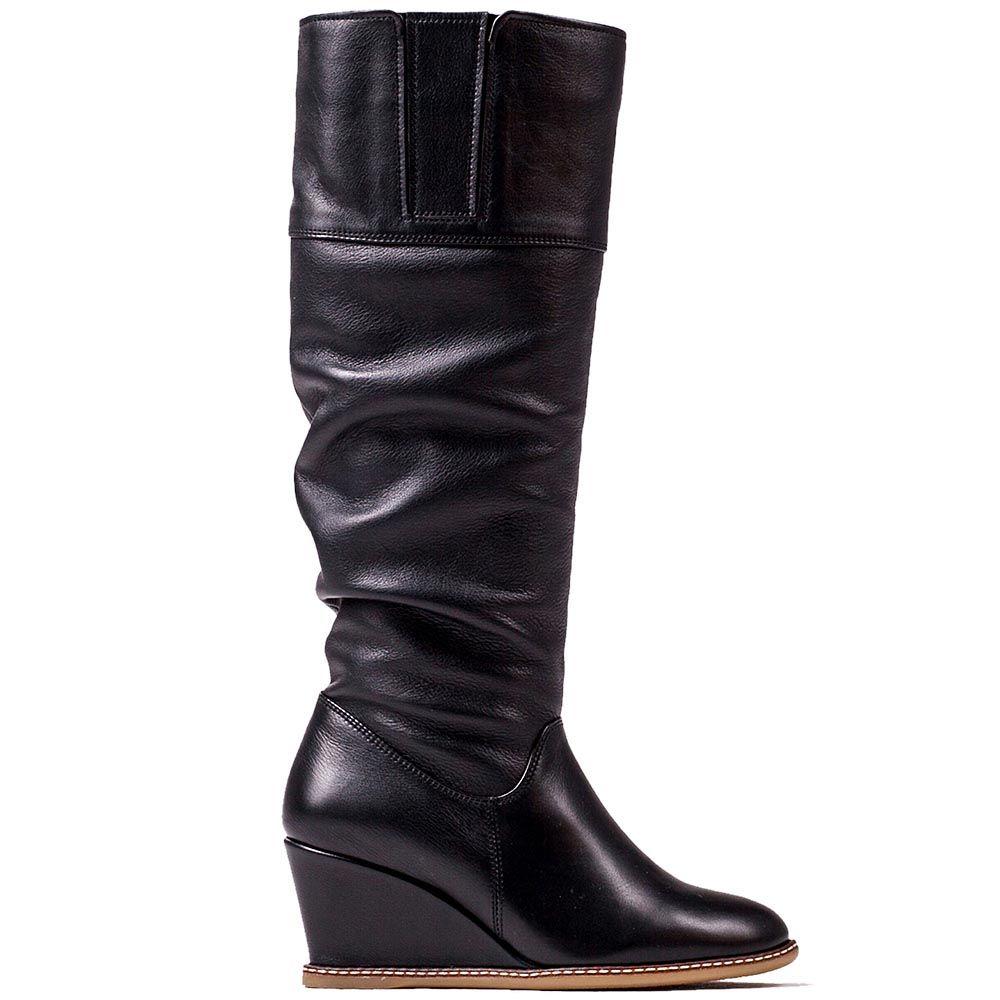 Зимние кожаные сапоги Modus Vivendi черного цвета со сборками