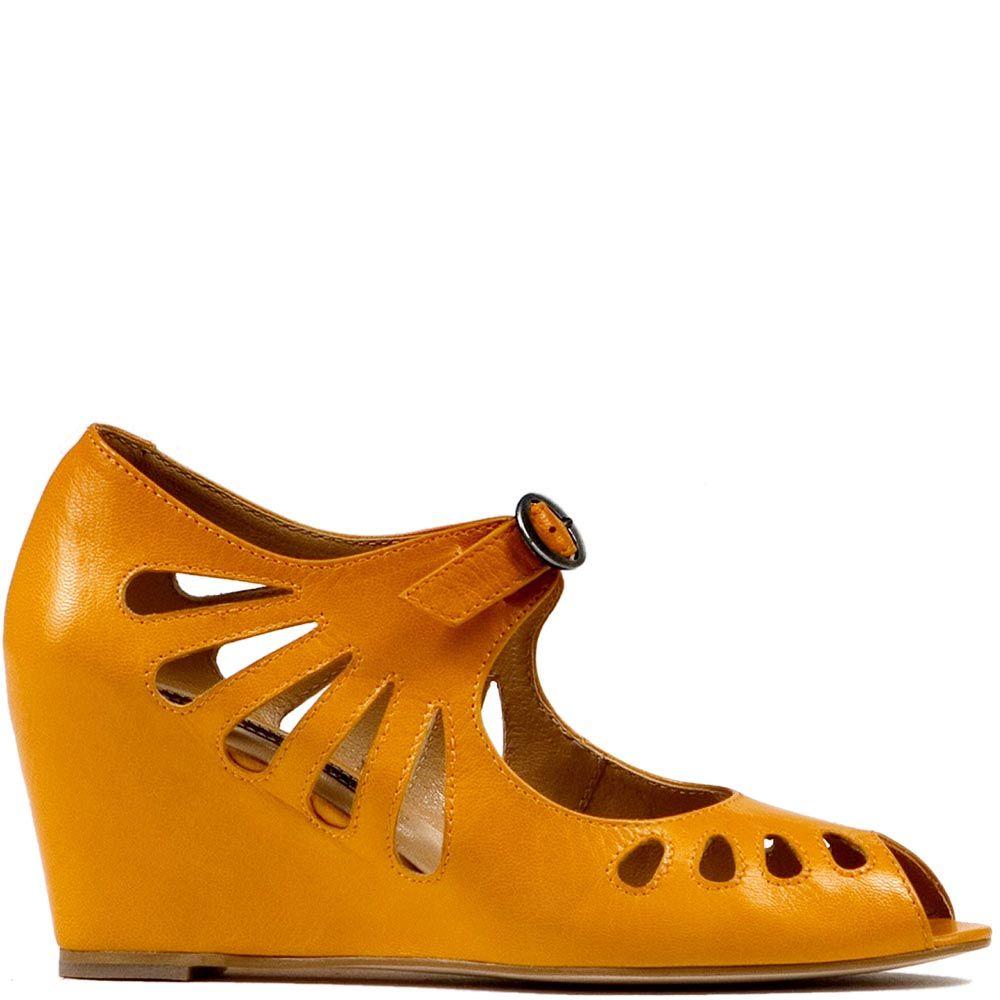 Женские туфли Modus Vivendi с открытым носком оранжевого цвета с резным узором