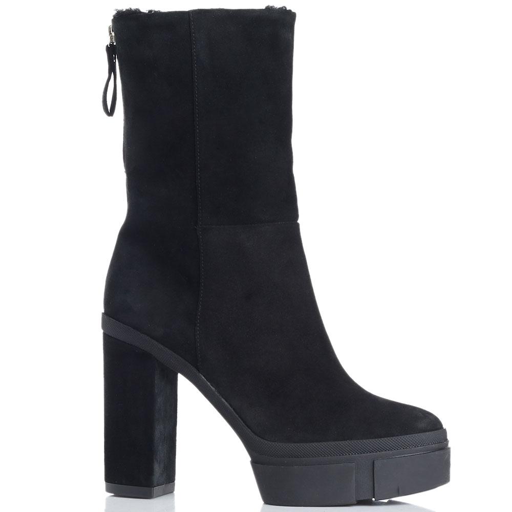 Замшевые ботинки Vic Matie на высоком каблуке