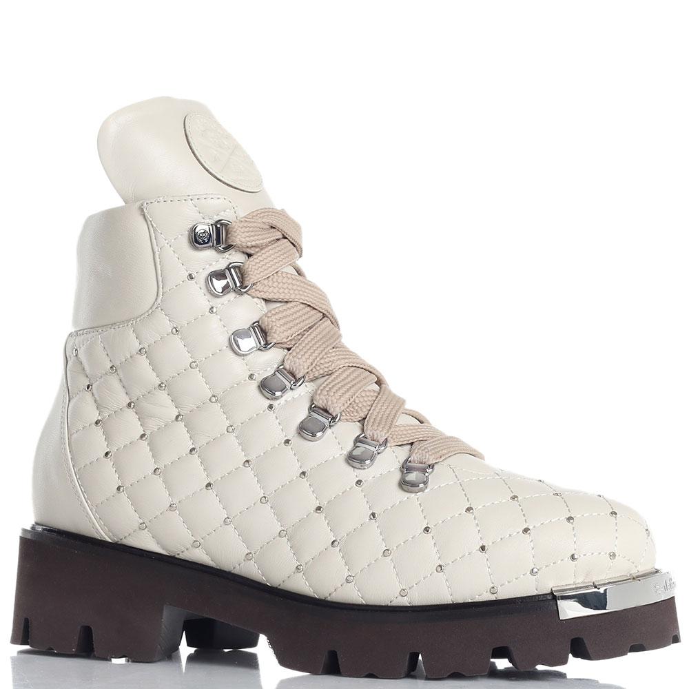 Стеганые ботинки Baldinini кремового цвета
