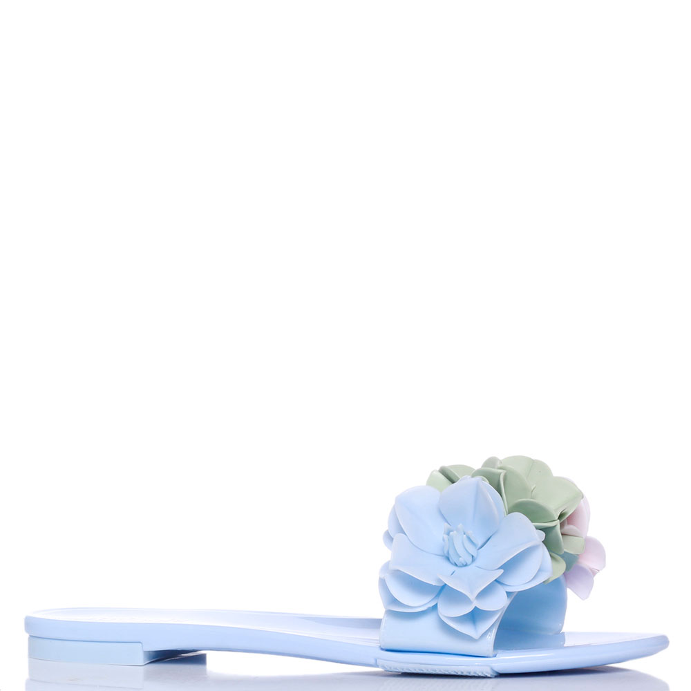 Голубые шлепанцы Menghi с тремя цветками