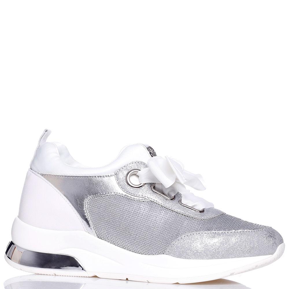 Серебристые кроссовки Liu Jo с декором-паетками