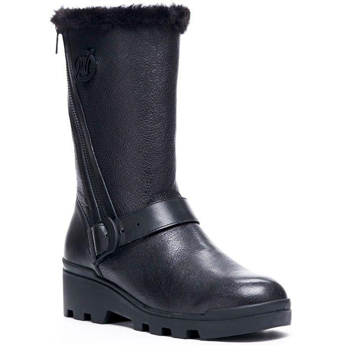 Зимние кожаные сапоги на меху Modus Vivendi черного цвета
