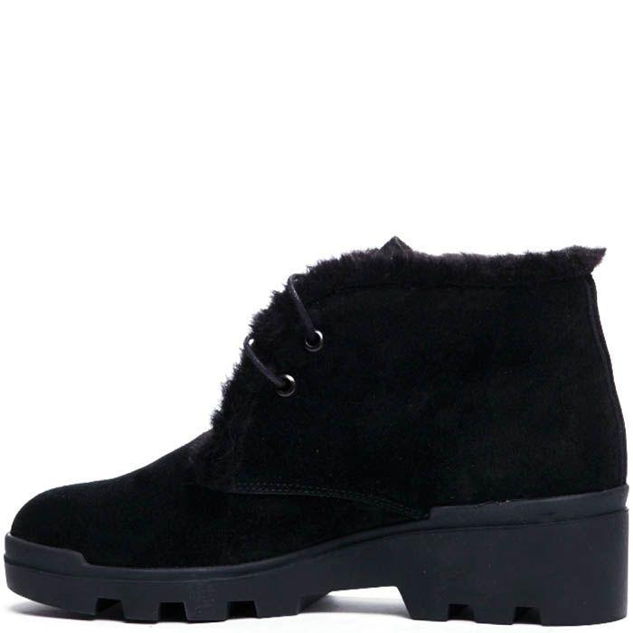 Замшевые ботинки на меху Modus Vivendi черного цвета