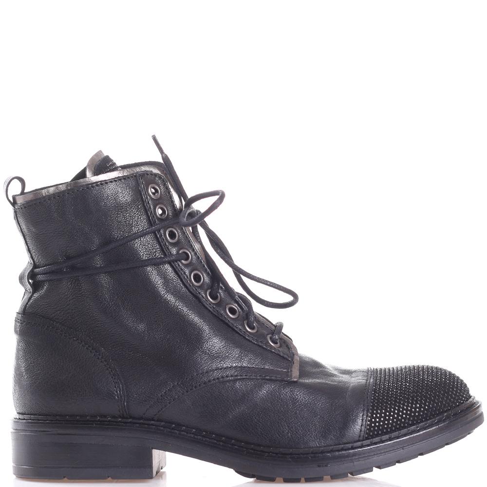 Черные ботинки Mally с декором-стразами на носочке