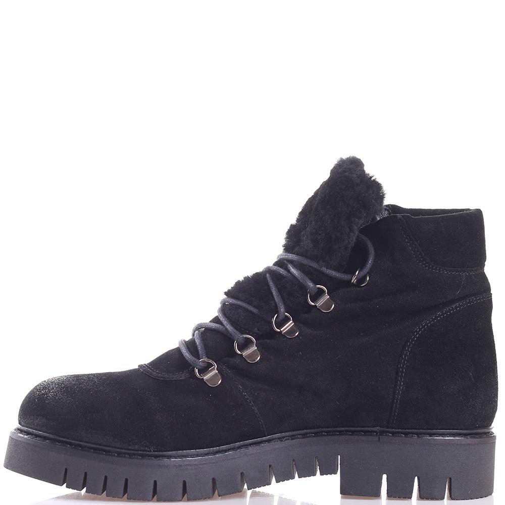 Замшевые ботинки Mally черного цвета на меху