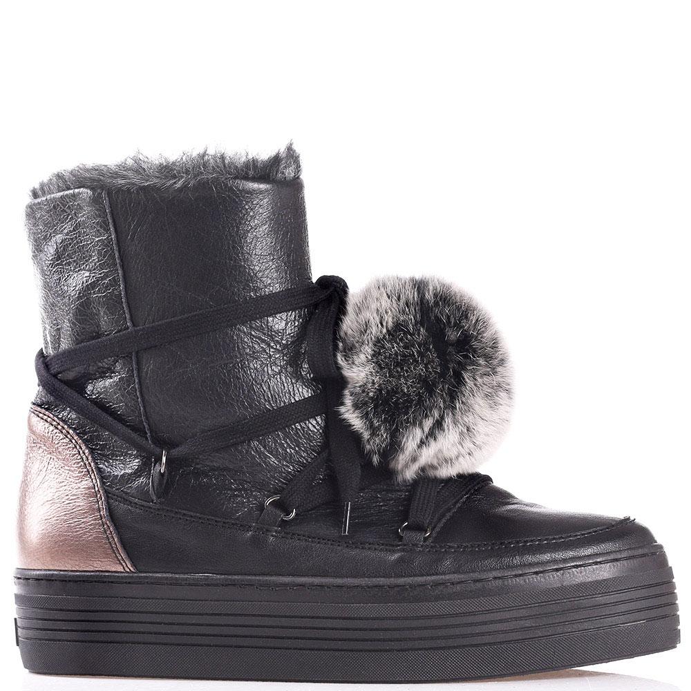 Кожаные ботинки Mally на платформе с золотистой пяточкой