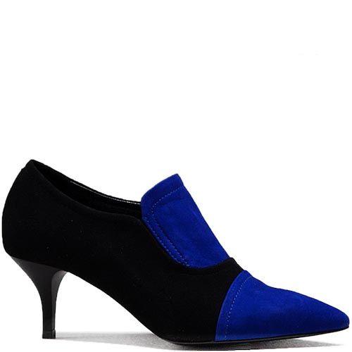 Женские туфли Modus Vivendi с острым носком из замши черного и синего цвета