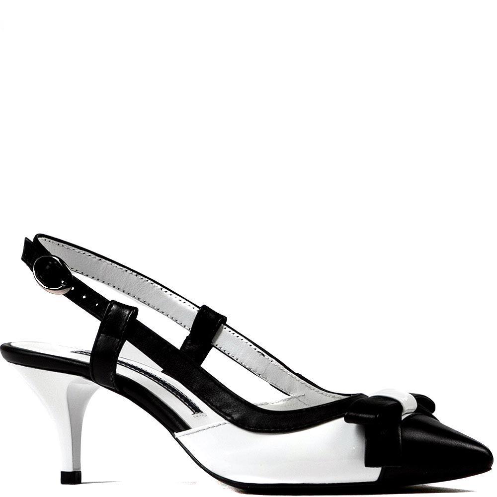 Черно-белые босоножки Modus Vivendi на среднем каблуке с зауженным носком