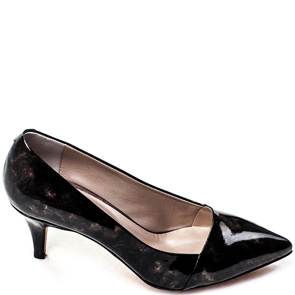 Туфли-лодочки Modus Vivendi из лаковой черной кожи на среднем каблуке
