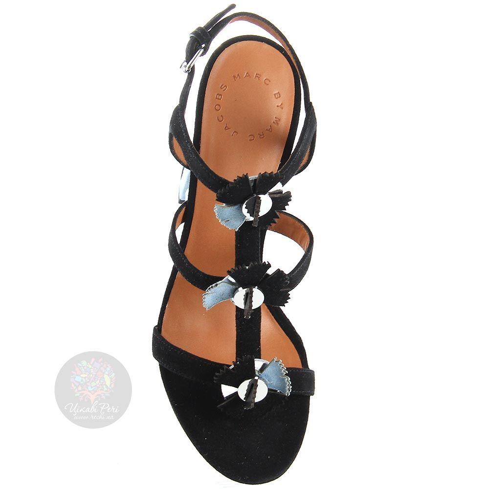Замшевые босоножки Marc by Marc Jacobs черно-голубые на устойчивом каблуке