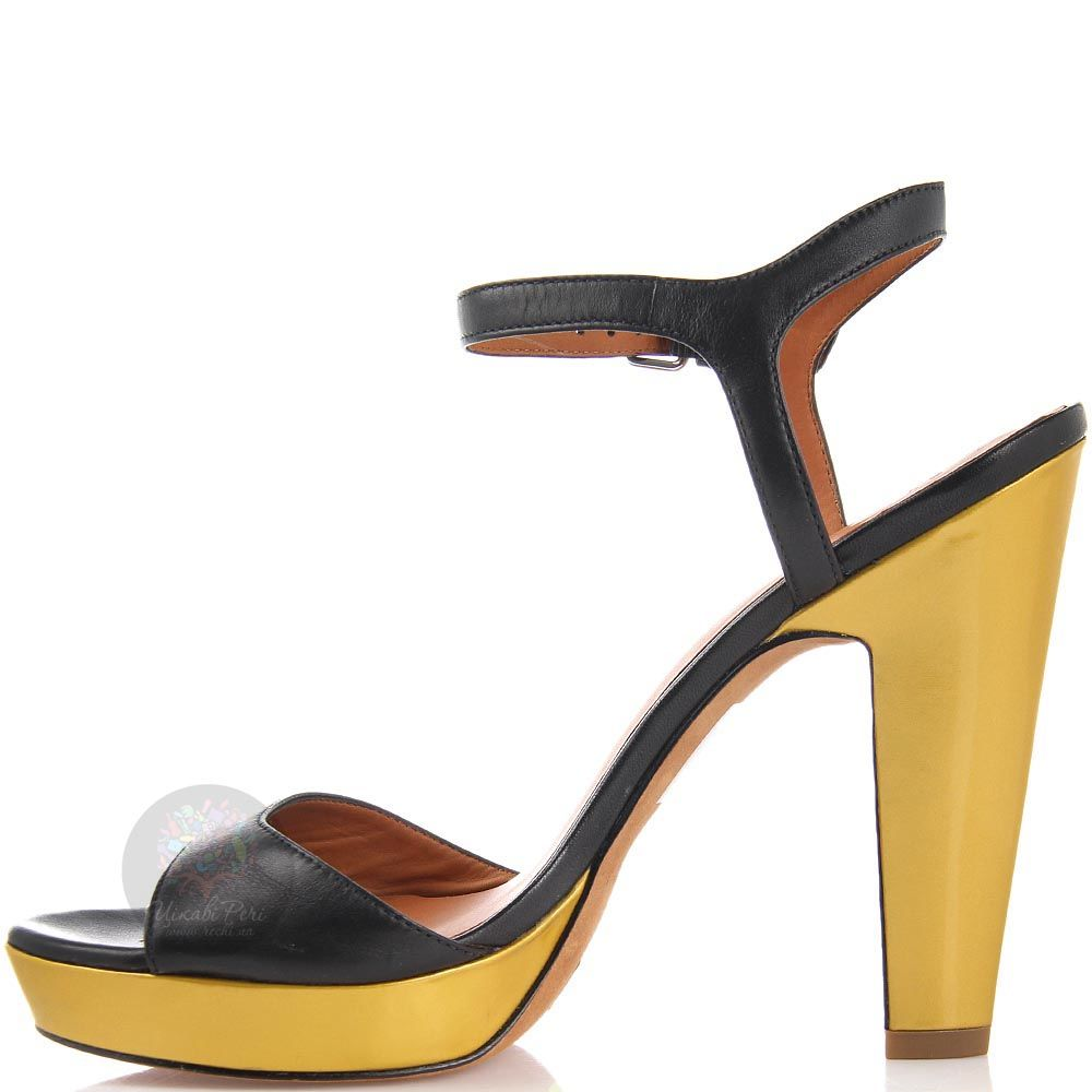 Черно-золотые босоножки Marc by Marc Jacobs на высоком каблуке
