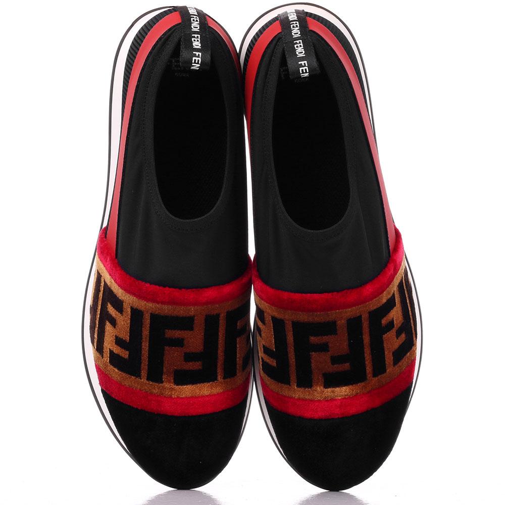 Черные кроссовки без шнуровки Fendi с бархатными элементами
