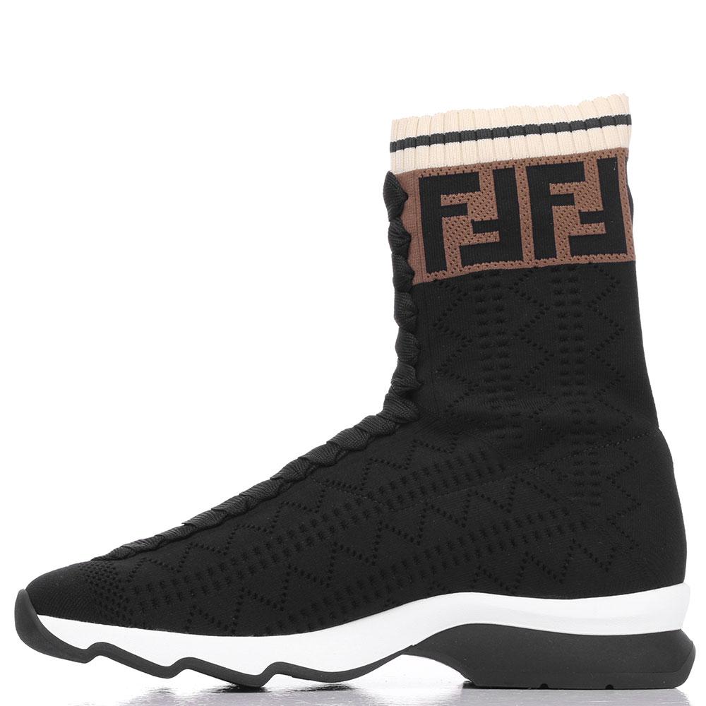 Высокие текстильные кроссовки Fendi черного цвета