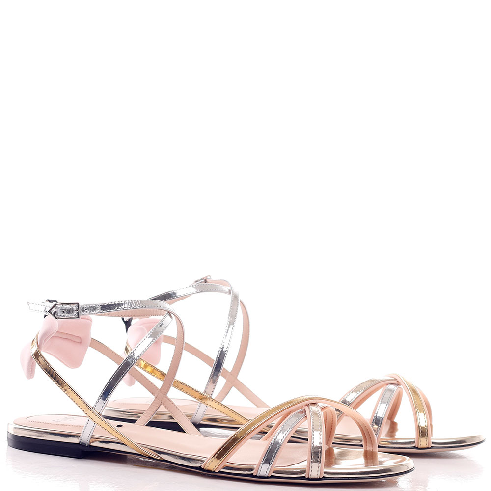 Сандалии Fendi на тонких ремешках без каблука