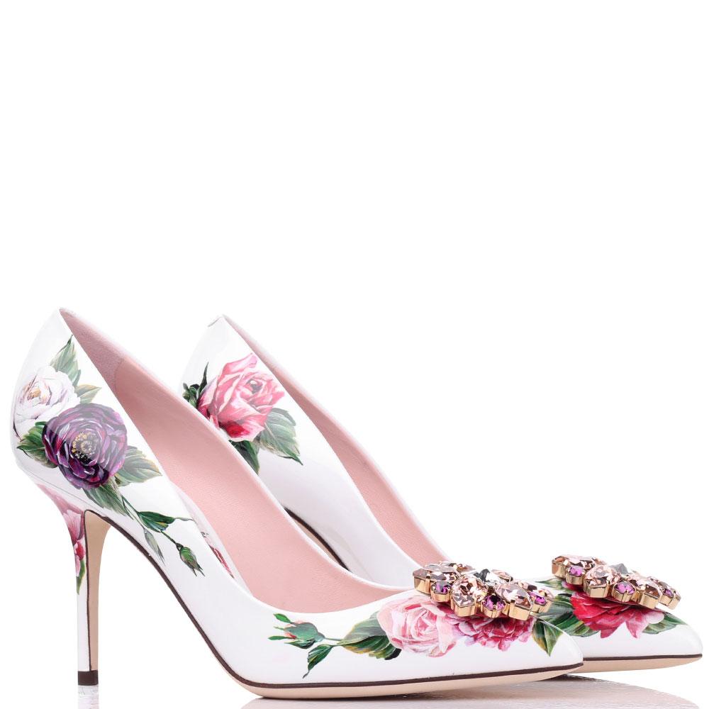 Белые лодочки с цветочным принтом Dolce&Gabbana с декором-камнями