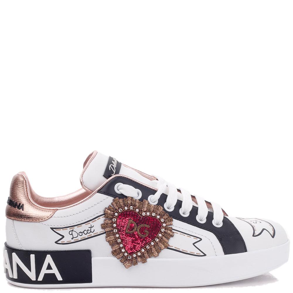 Белые кеды Dolce&Gabbana с нашивкой-сердцем