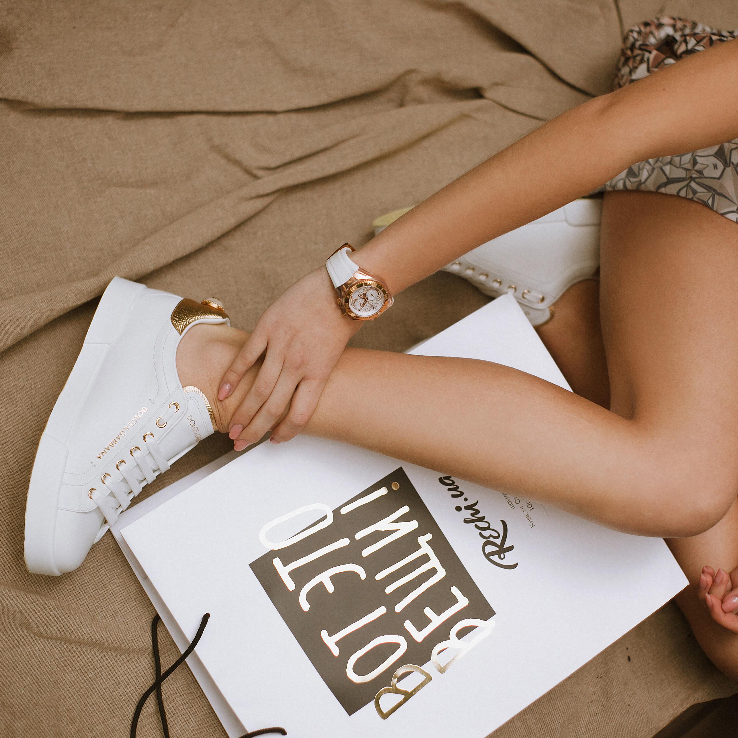 Кеды Dolce&Gabbana с жемчужиной сзади