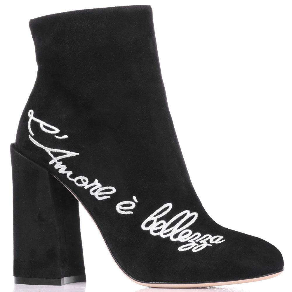 Черные замшевые ботильоны Dolce&Gabbana с вышивкой