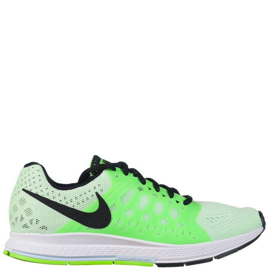 Кроссовки Nike Air Zoom Pegasus женские зеленого цвета с силиконовыми вставками по бокам