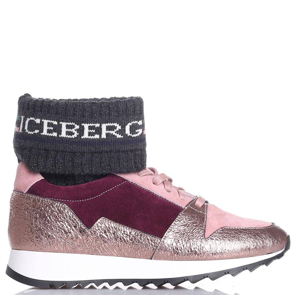 Трехцветные высокие кроссовки Iceberg из кожи и замши