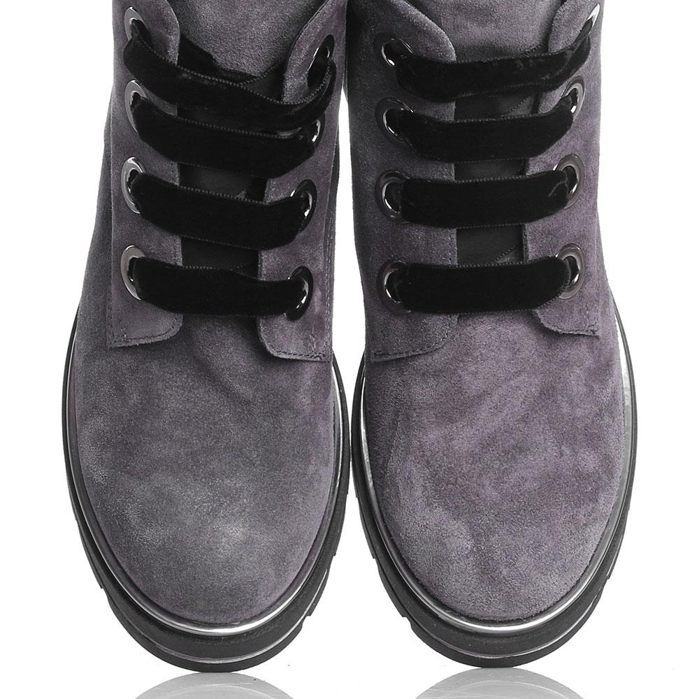 Замшевые ботинки Tine's на толстой подошве с черной бархатной шнуровкой