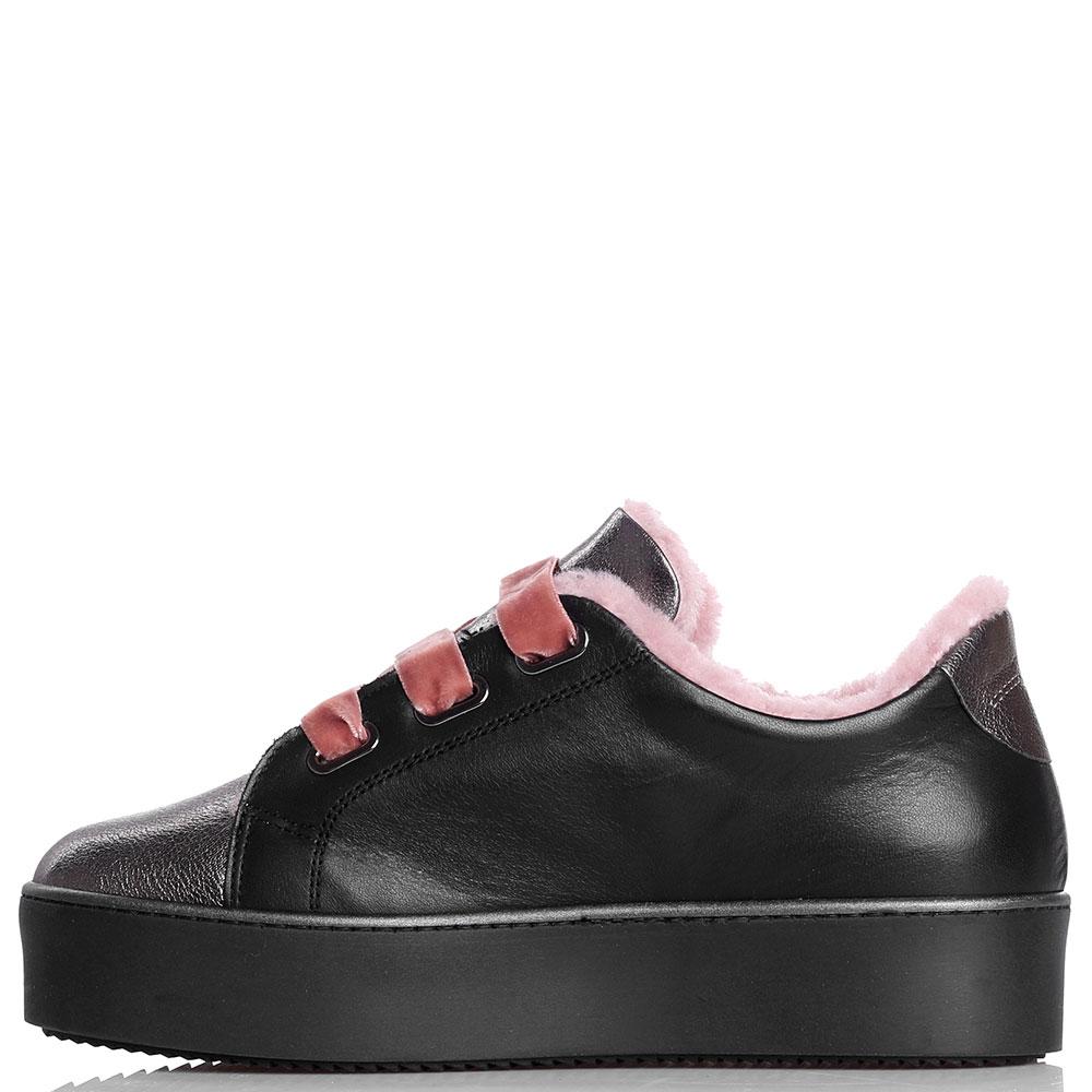 Утепленные кеды Tine's черного цвета с бархатной шнуровкой