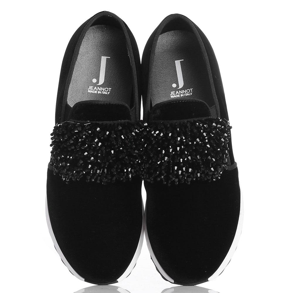 Черные бархатные слипоны Jeannot с декором из бисера
