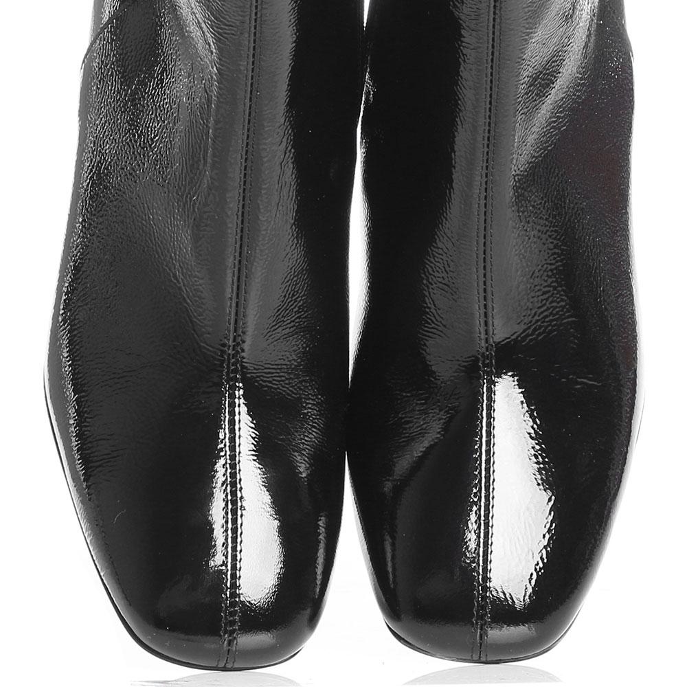Черные лаковые ботильоны Jeannot с тупым носочком