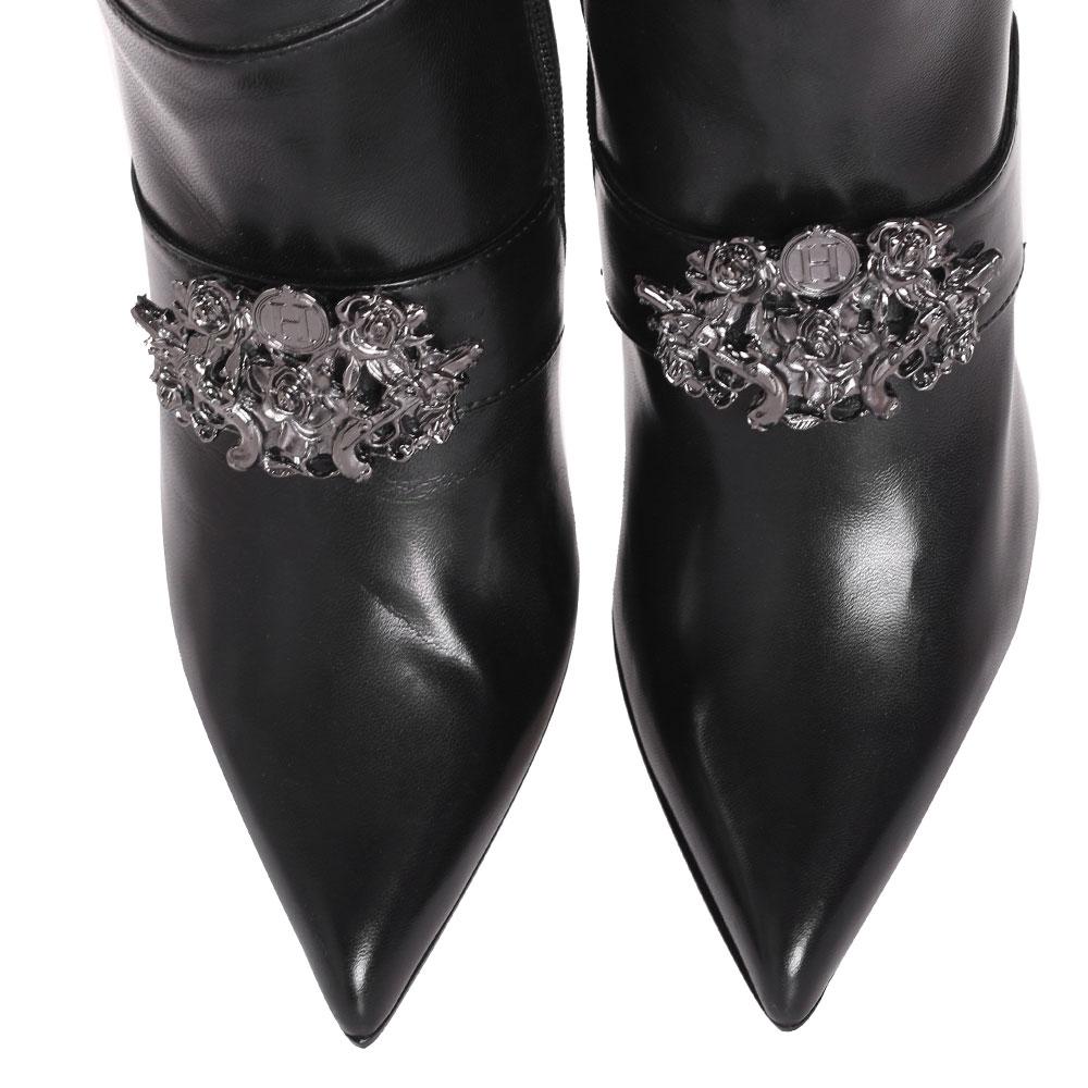 Черные ботфорты H'Estia di Venezia с металлическим декором