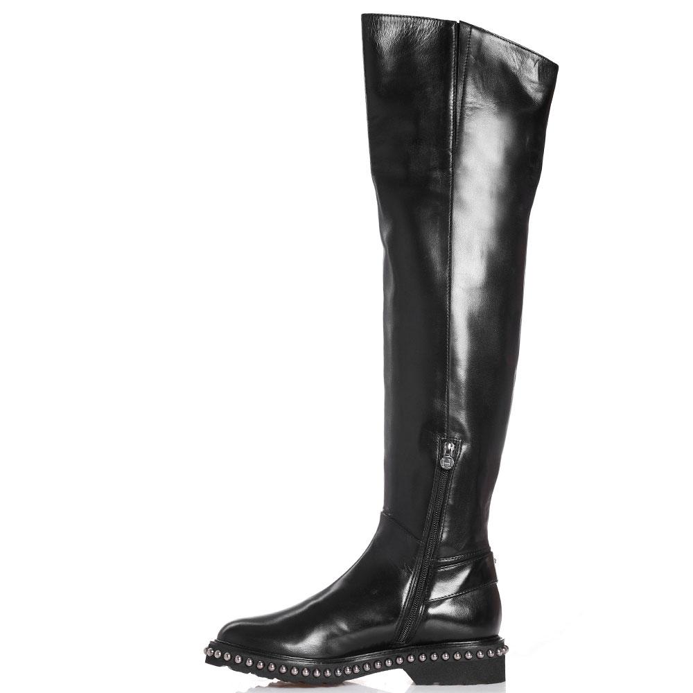 Ботфорты H'Estia di Venezia из гладкой черной кожи с металлическим декором