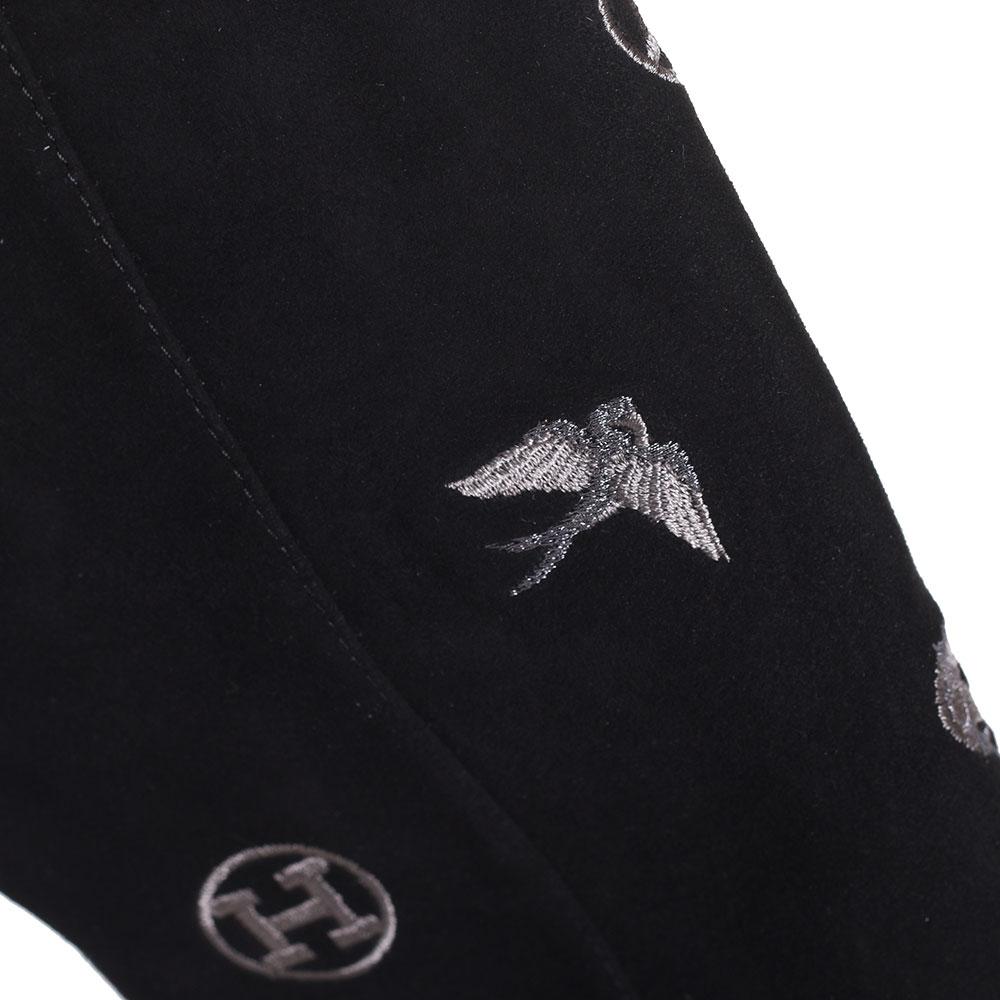 Ботфорты из черной замши Hestia Venezia с вышивкой