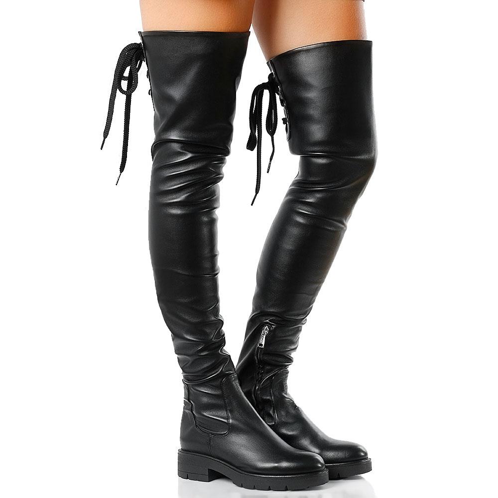 Черные ботфорты Tiffi со шнуровкой на голенище