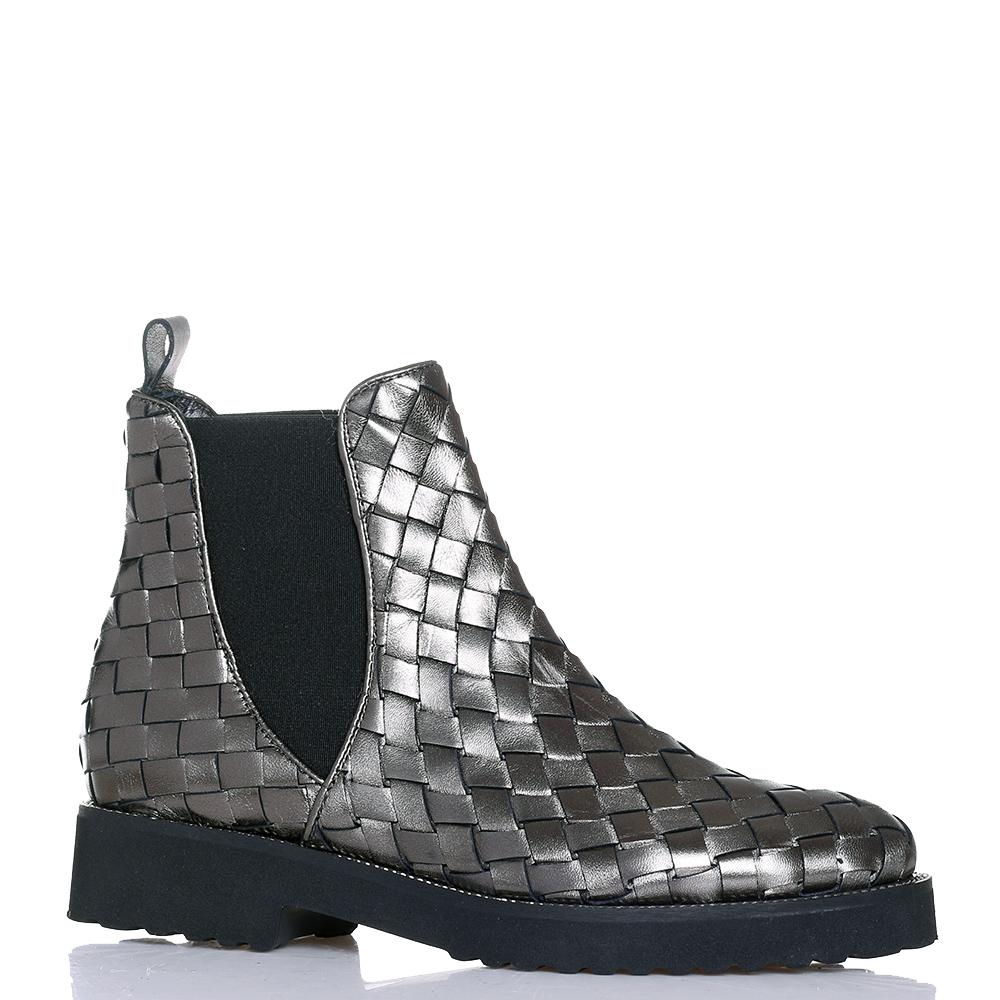 Серебристые ботинки Luca Grossi с эффектом плетения