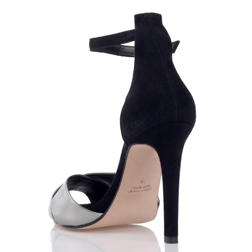 Замшевые босоножки Chantal черного цвета на шпильке