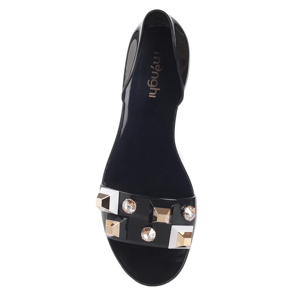 Черные сандалии Menghi с декором-камнями
