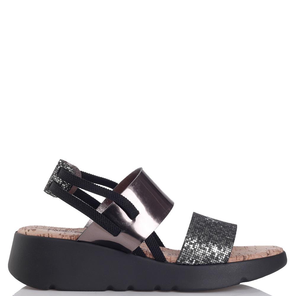Серебристые сандалии Nr Rapisardi на толстой подошве