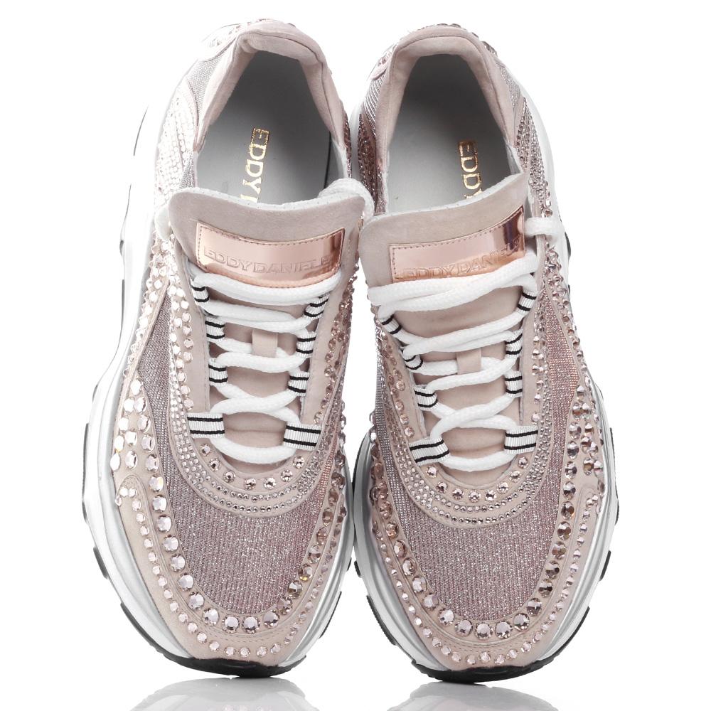 Пудровые кроссовки Eddy Daniele с кристаллами Сваровски