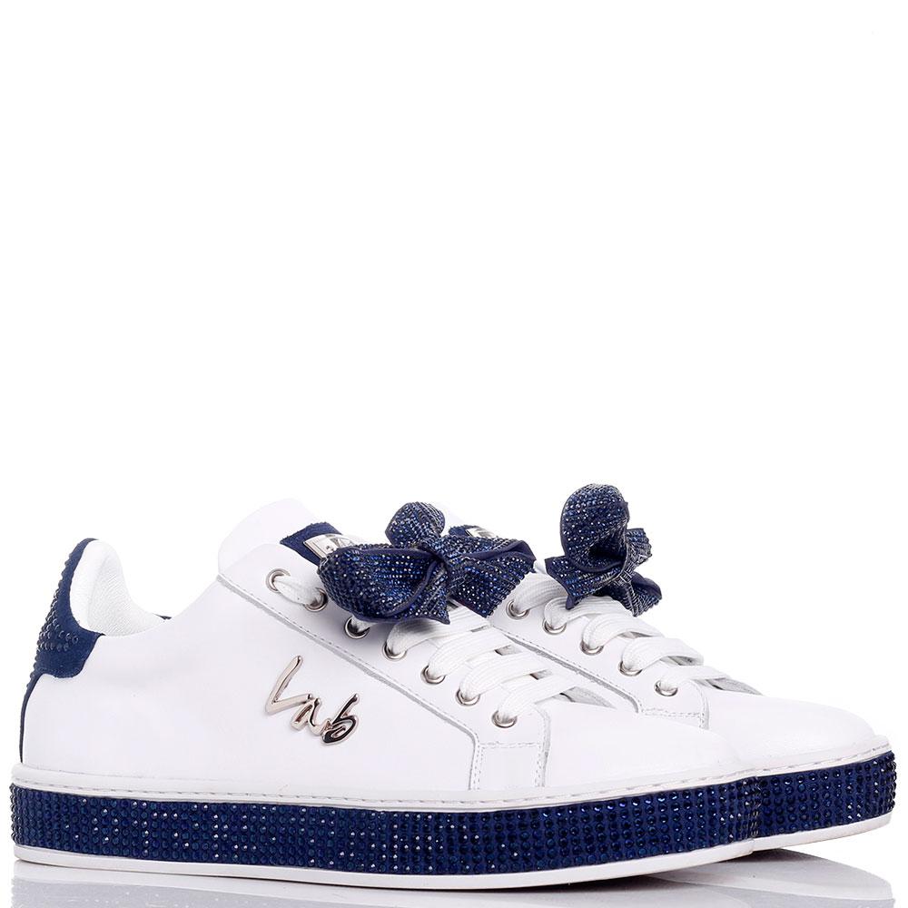Белые кеды Lab Milano со съемным декором на шнурках