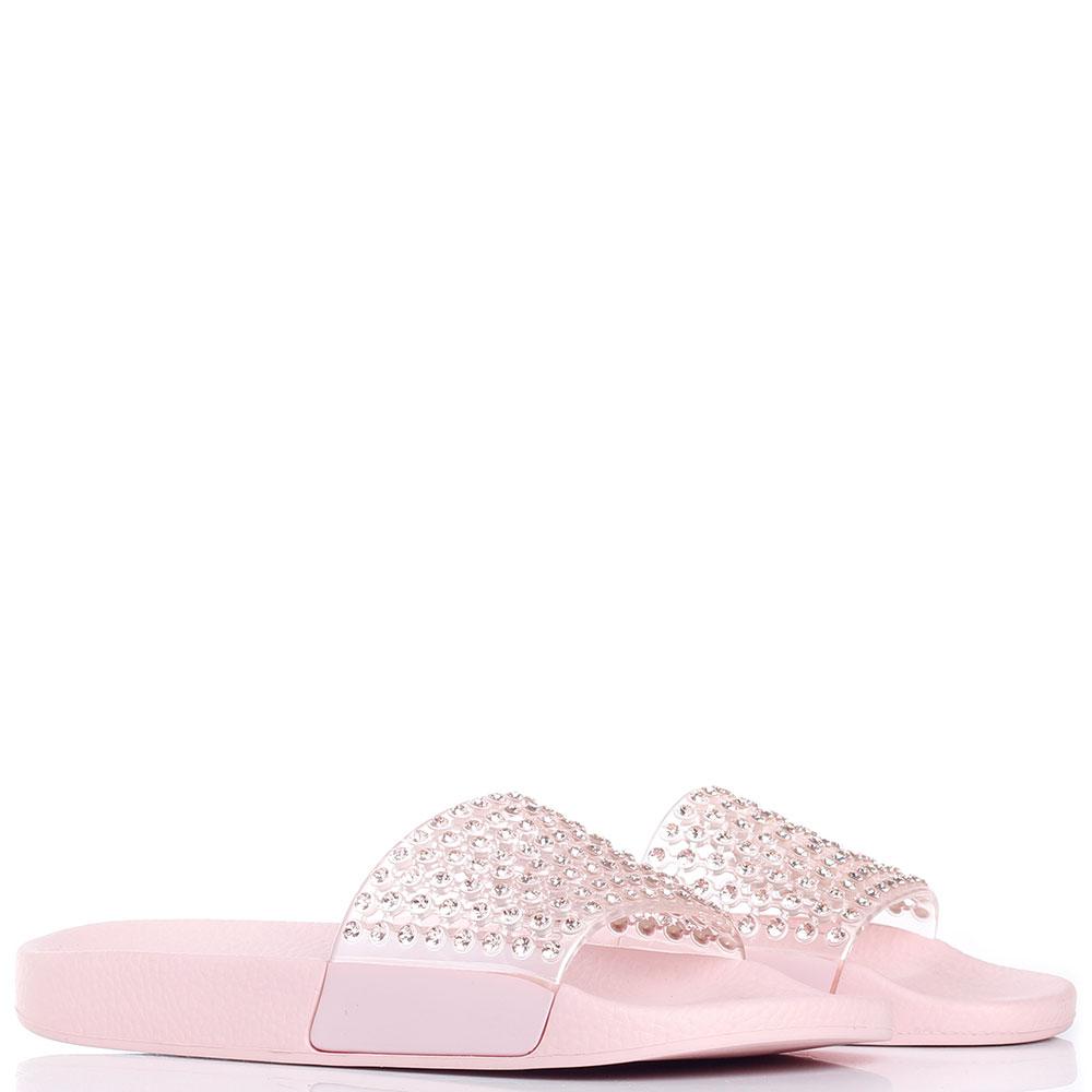 Шлепанцы с камнями Menghi розового цвета