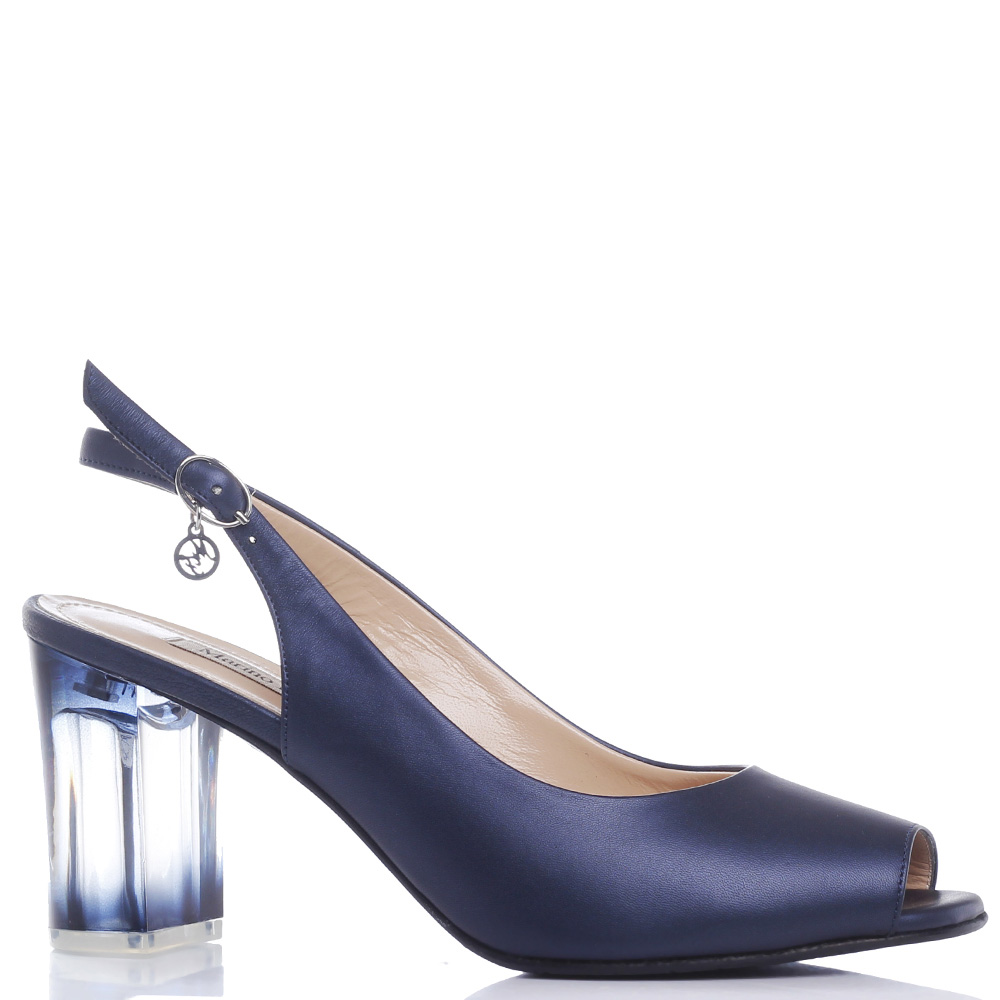 Синие туфли Marino Fabiani на прозрачном каблуке